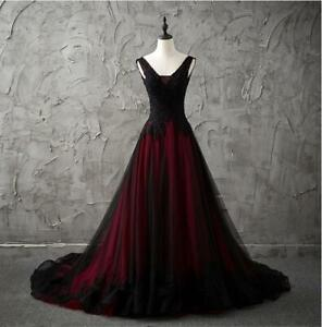 Gothic V-Neck Sleeveless Black and Red Wedding Dresses Lace Appliques Formal