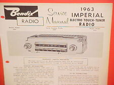 1963 CHRYSLER IMPERIAL CROWN CONVERTIBLE LEBARON BENDIX AM RADIO SERVICE MANUAL