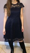 Black Nude Lace Lined Button Cap Sleeve Dress 8,10,12,14
