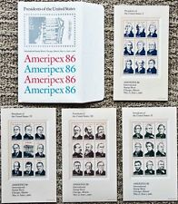 4 Sheets Ameripex PRESIDENTS OF THE UNITED STATES 36 22¢ MNH Stamps 2216-19 1986