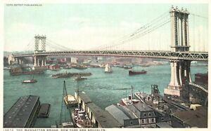 Vintage Postcard 1920's The Manhattan Bridge New York & Brooklyn N. Y.