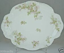 ANTIQUE LIMOGES SERVING TRAY,PLATE,PLATTER BRETAGNE,GREEN,PINK ROSE GARLAND