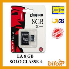 MICRO SD KINGSTON 8 GB 8GB CLASSE 4 MICROSD SCHEDA MEMORIA TELECAMERA TELEFONO
