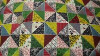 """Vintage Cotton Fabric PRINTED PATCHWORK, CALICO SQUARES 1 Yd/34"""" Wide"""