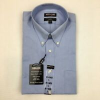 Mens Kirkland Signature Dress Shirt Traditional Fit Button Collar Blue 15 1/2-33