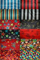Satin (€10/m²) 0,3 m Karneval Fasching Streifen, Sterne Clowns 1,5m breit