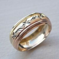 14K SOLID TRICOLOR GOLD MEN'S/ WOMEN'S WEDDING BAND RING 5-14 FREE ENGRAVING