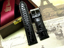 24mm Brown Crocodile Grain Leather Watch Band Silver Tone Buckle With 2 Pins