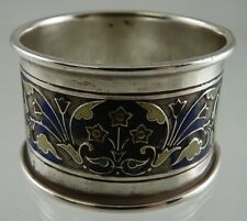 AMERICAN STERLING & ENAMEL NAPKIN RING SMALL FLOWERS 1850-1899