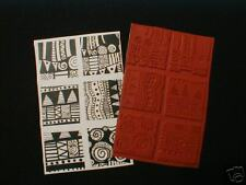 Set of 6 Graphic Design Unmounted Rubber Stamps Impress Polymer Paperclay PMC