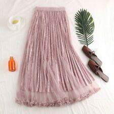 Women Midi Skirt Pleated Dress A-line Elastic High Waist Long Mesh Casual Spring