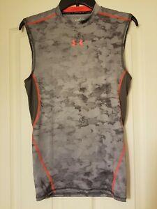 Gray & Org Under Armor Shirt ~ Compression heatgear ~Size M~ Polyester Elastane