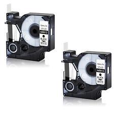 2 Pk 12mm Black On White 45013 Tape For Dymo D1 Label Maker Labelmanager 160 200