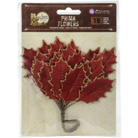 VICTORIAN CHRISTMAS - 18 Glittered LEAF Stems - RED & GOLD Edge 30-60mm PRIMA