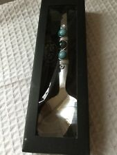 Wild Eye Design Serving Spoon Turquoise Beads Art Deco EUC Nouveau Tableware