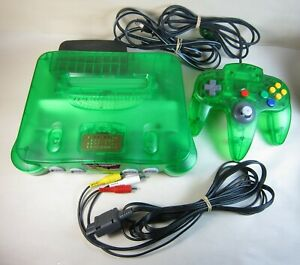 N64 Nintendo 64 Green Console NUS-001 & Controller / Clean, Tested & Works Great