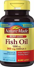 Nature Made Burp-Less Fish Oil Omega-3 1200 mg 60 Softgels