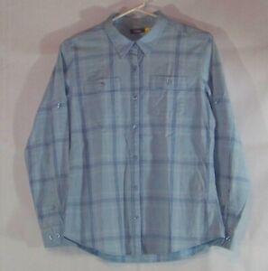 Cabelas Womens S/P Plaid long sleeve Button Down Shirt. blue MultiColor straps