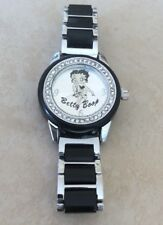 BETTY BOOP Watch Authentic Silver Dial Crystal Bezel on Silver & Black Bracelet!
