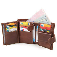 Trifold Leather RFID Wallet for Men 2 ID Windows Credit Card Holders Slim Design