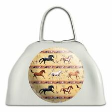 Horses Southwestern Border Pattern White Metal Cowbell Cow Bell Instrument