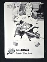 2019-20 UD CHL Printing Plate Black #47 Luka Burzan 1/1 - Brandon Wheat Kings