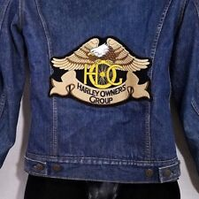 Harley Owners Group Levis Denim Trucker Jacket Vintage Hog Troy Blanket Small
