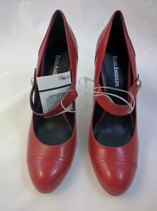NEW Women Enzo Angiolini Red Leather RoundTOE MaryJane Strap Shoe Heel 10
