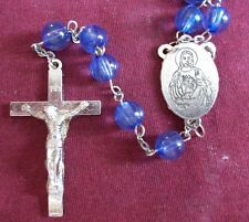 VINTAGE CATHOLIC ROSARY ~ GLASS BLUE BEADS WITH SILVER PLATE CROSS & MEDAL