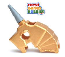 *NEW* LEGO Horse Battle Helmet Unicorn Horn Castle Minifigs Warm Metalic Gold