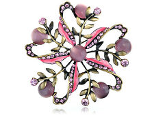 Antique ChicPink Rose Rhinestone Cat Eye Flower Pinwheel Pin Brooch