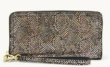 Fossil Logan RFID Silver Leather Wristlet Ziparound Clutch NWT SL7980043 $78 FS