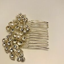Bridal Wire Hair Comb Faux Pearl Crystal Hair Clip Pin Wedding J6406