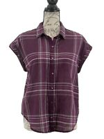 Lucky Brand Blouse Women's Purple & White Plaid Button Up Top Size Small