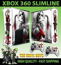 XBOX 360 SLIM STICKER HARLEY QUINN ARKHAM  BATMAN GOTHAM GIRLS SKIN & 2 PAD SKIN
