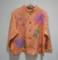BNWT Indigo Moon peach sequin embroidered floral pattern jacket 3XL XXXL NEW
