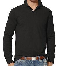 Mens Clothing Long Sleeve Plain Polo Shirt   S M L XL 2XL 3XL   Custom Fit Top