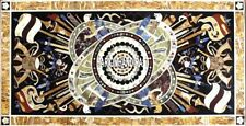 Table Marble Dining Top Real Musical Instrument Inlay Art Patio Decorative H4002