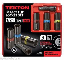 TEKTON 4950 1//2-Inch Drive Lug Nut Service Tool Flip Impact Socket Set Inch//Metric 4-Piece