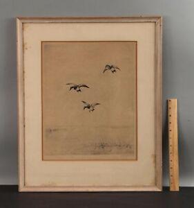Antique Pencil Signed ROLAND CLARK Marlard Ducks Etching Print, No Reserve!