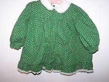 VINTAGE NANNETTE BABY GIRL LONG SLEEVE GREEN/FLORAL DRESS 24M (FOR LARGE DOLL)