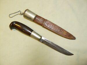 Vintage Finnish Puukko Knife with Bakelite Handle & Sheath