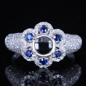 6mm Round Diamonds & Sapphires Wedding Semi Mount Ring Solid 10K White Gold