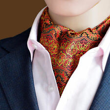 LJ12-01 Red yellow Stripe Paisley  Men 100% Silk Ascot Tie Cravat Accessory Ties