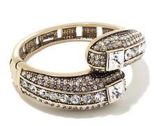 "HEIDI DAUS ""Infinite Magic"" ""Cream"" Clear Crystal-Accented Bangle Bracelet S/M"