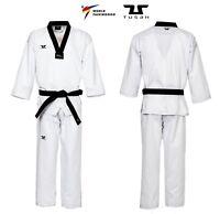 Dobok Basic Uniform collo nero TUSAH per Taekwondo OMOLOGATO WT in Polycotton