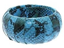 Blue Wrap Faux Leather Animal Print Snake Skin Bangle Bracelet