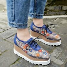 Fashion Womens Leather Embroidery Platform Wedge Shoes Mesh Casual Lace Up Shoes
