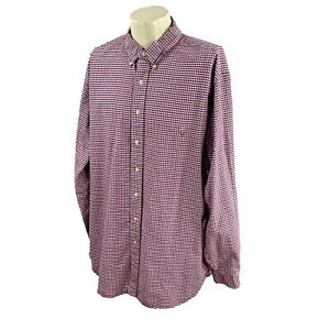 Ralph Lauren Polo Men's Classic Fit Long Sleeve Red Blue Check Oxford Shirt 2XLT