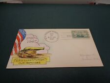 #951-55 Mae Weigand Hand-Painted PA FDC USS Constitution Old Ironsides HP